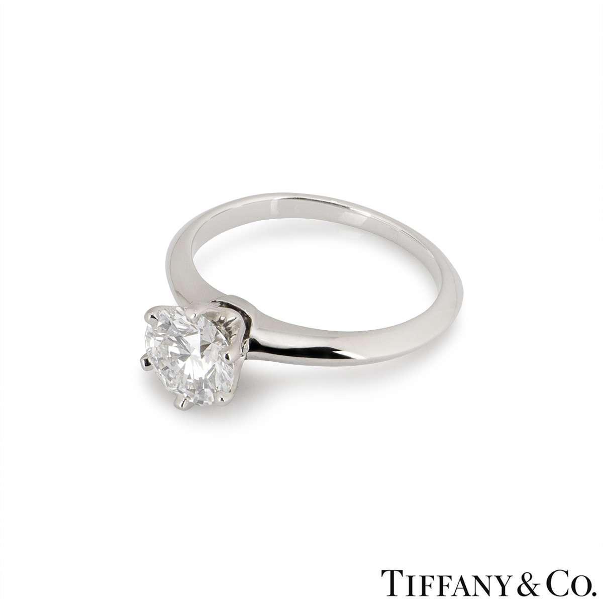 Tiffany & Co. Platinum Diamond Setting Ring 1.01ct D/VS1